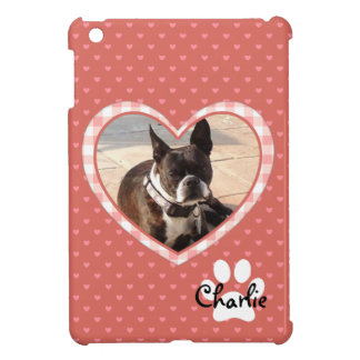 Layered Pink Heart Pattern with Plaid Frame iPad Mini Case