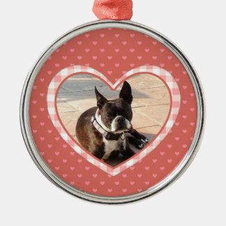 Layered Pink Heart Pattern with Plaid Frame Metal Ornament