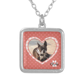 Layered Pink Heart Pattern with Plaid Frame Silver Plated Necklace