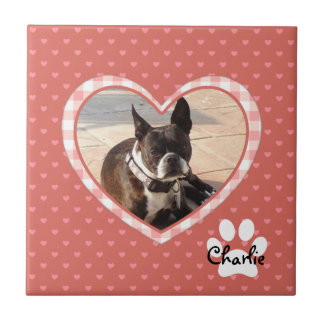 Layered Pink Heart Pattern with Plaid Frame Tile