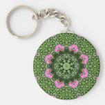 Layered Pink Lotus Mandala Basic Round Button Keychain