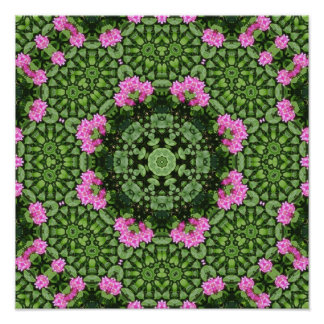 Layered Pink Lotus Mandala Print