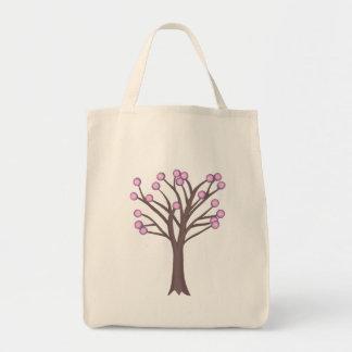 Layered Pink Polka Dots Tree Canvas Bag