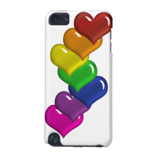 Layered Rainbow Colored Hearts iPod Case