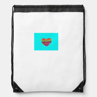 Layered Rainbow Heart Drawstring Backpack
