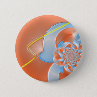 Layered red and blue flower pattern pinback button