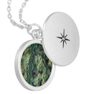 layered rock, green (I) Round Locket Necklace