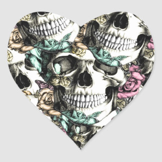 Layered Rose skull pattern in pink blue and yellow Heart Sticker