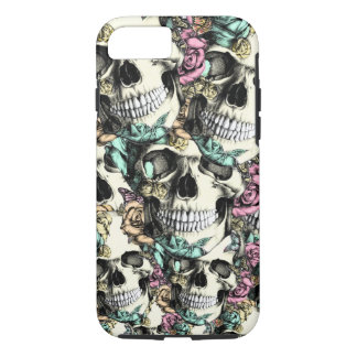 Layered Rose skull pattern in pink blue and yellow iPhone 7 Case