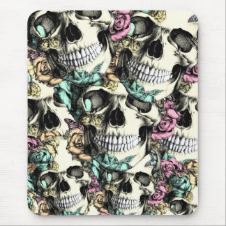 Layered Rose skull pattern in pink blue and yellow Mouse Pad