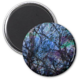 Layered Trees at Twilight 2 Inch Round Magnet