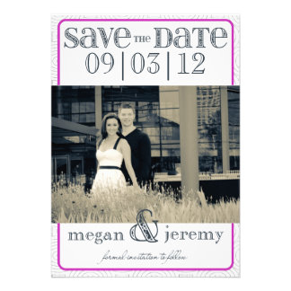 Layers - Custom Save the Date - Magenta & White Invites