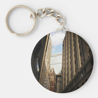 Layers of Buildings in the Financial District, NYC Basic Round Button Keychain