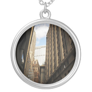 Layers of Buildings in the Financial District, NYC Silver Plated Necklace