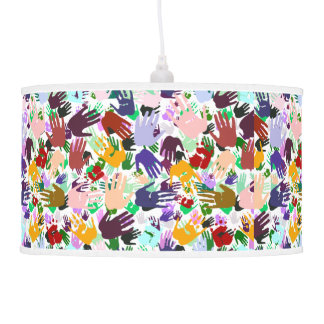 Layers of Colorful Handprints Ceiling Lamp