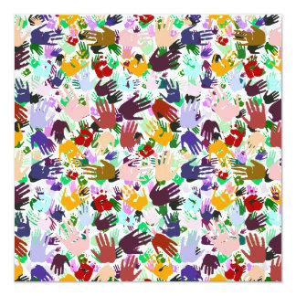 Layers of Colorful Handprints 5.25x5.25 Square Paper Invitation Card