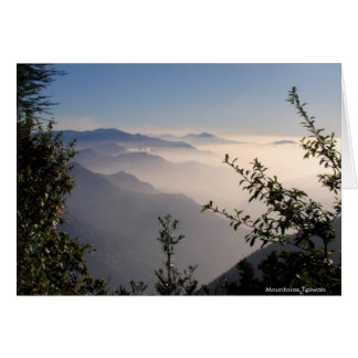 Layers of Mountains in Clouds/Landscape Greetings Card