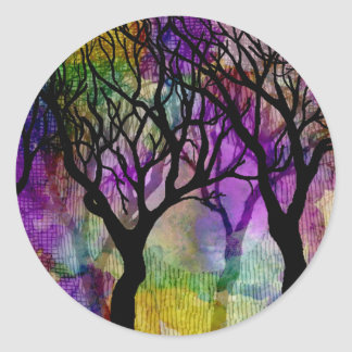 Layers of Trees on Mica Background Classic Round Sticker