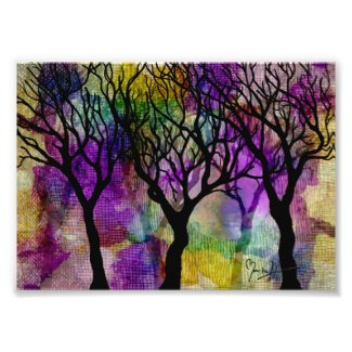 Layers of Trees on Mica Background Photo Print