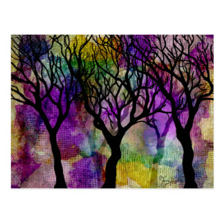 Layers of Trees on Mica Background Postcard