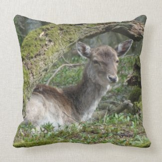 Laying Fallow Deer Throw Pillow