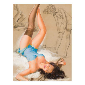 Laying Girl Pin Up Art Postcard