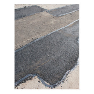 Laying new asphalt patching method postcard