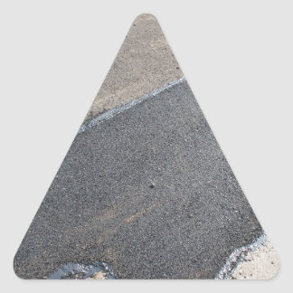 Laying new asphalt patching method triangle sticker
