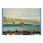Laying of the Moskvoretsky Bridge in Moscow Posters