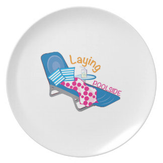 Laying Poolside Melamine Plate