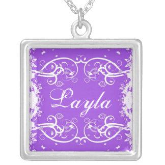 """Layla"" on purple flourish swirls necklace"