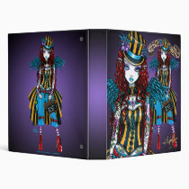 circus, sideshow, fairy, faery, carney, purple, red, teal, tattoos, corset, couture, octopus, roses, swallows, hearts, flowers, fantasy, art, myka, jelina.gothic, goth, Binder with custom graphic design