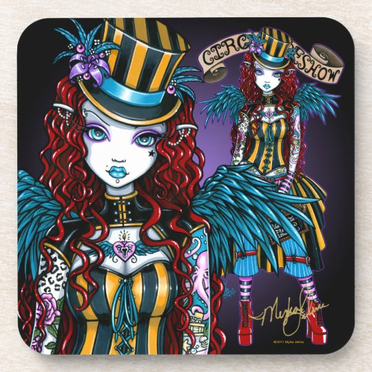 """Layla"" Steampunk Circus Tattoo Sideshow Coasters"