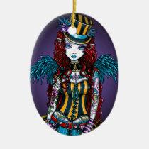 circus, angel, fantasy, corset, sideshow, carney, steampunk, faery, fairy, faerie, fairies, art, myka, jelina, layla, Ornament with custom graphic design