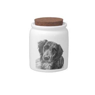 Layla the Border Collie Mix Charcoal Sketch Candy Dish