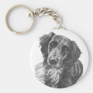 Layla the Border Collie Mix Charcoal Sketch Keychains