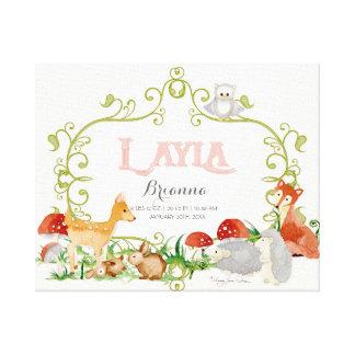 Layla Top 100 Baby Names Girls Newborn Nursery Stretched Canvas Print