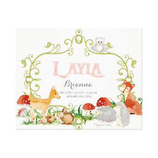 Layla Top 100 Baby Names Girls Newborn Nursery Canvas Print