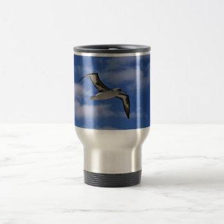 Laysan albatross flying in air travel mug