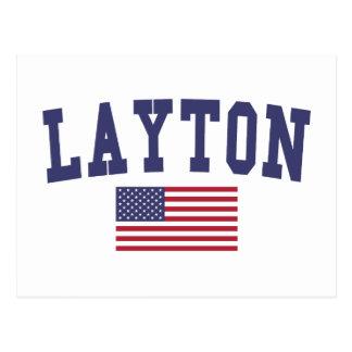Layton US Flag Postcard