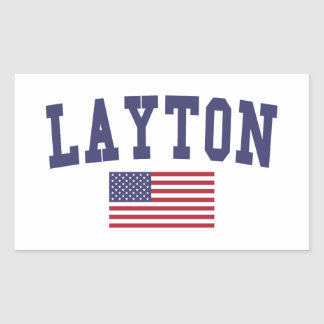 Layton US Flag Rectangular Sticker