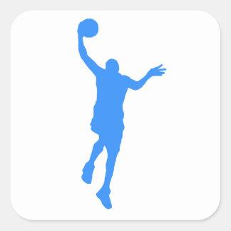 Layup azul del baloncesto calcomania cuadradas personalizadas