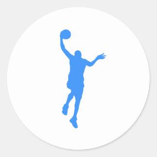 Layup azul del baloncesto etiqueta redonda