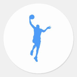 Layup azul del baloncesto pegatinas redondas