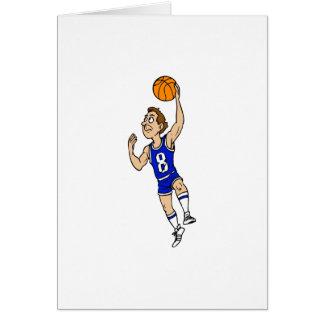 Layup basketball player in blue card