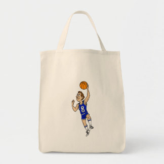 Layup basketball player in blue tote bag