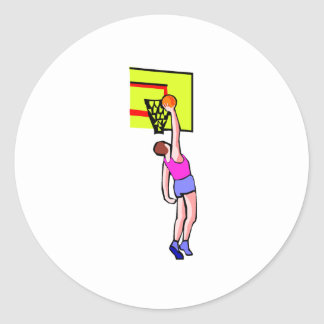 Layup del baloncesto etiqueta redonda