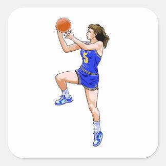 Layup del baloncesto calcomanías cuadradases