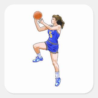 Layup del baloncesto pegatina cuadradas