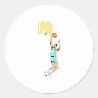 Layup del baloncesto etiquetas redondas